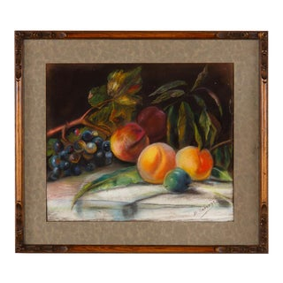 1910s French Art Nouveau Frame With Pastel Still Life For Sale