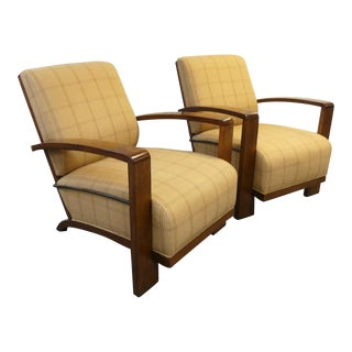 Ralph Lauren Exposed Wood Lounge Chairs - a Pair For Sale