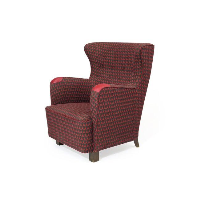 1930s 1937 A.J. Iversen for Kaj Gottlob Deco Lounge Chair Original Fabric For Sale - Image 5 of 9