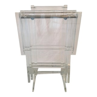 Lucite Folding TV Trays & Stand - Set of 3