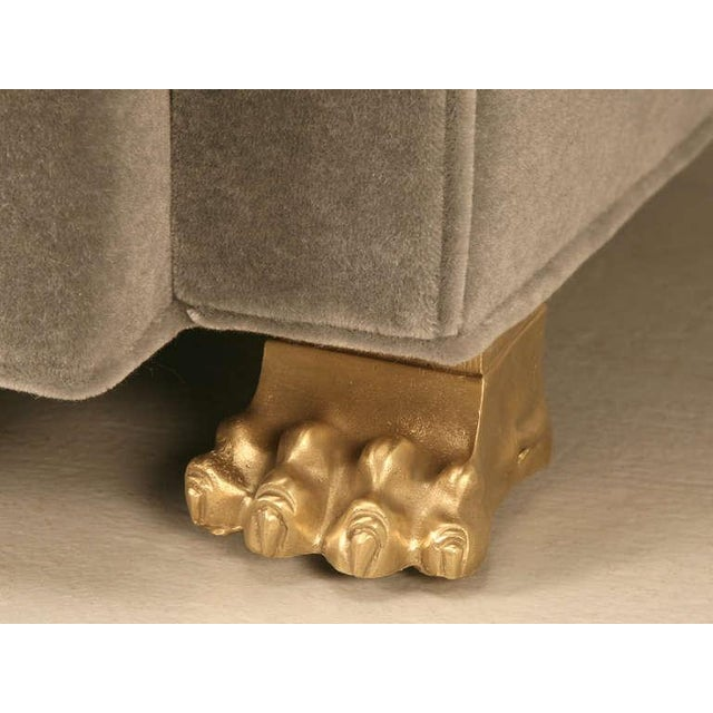 Contemporary Chesterfield in Mohair with Solid Bronze Paw Feet For Sale - Image 3 of 10