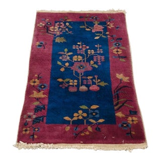 Early 20th Century Antique Chinoiserie Art Deco Rug - 2′ × 4′ For Sale
