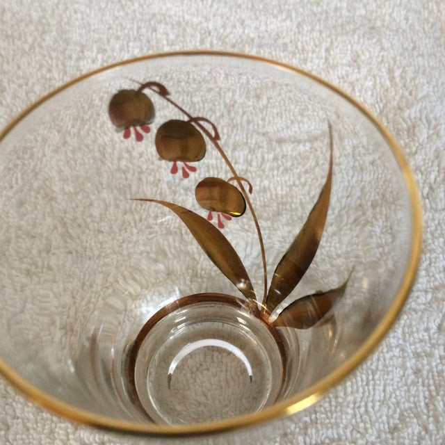 Metal Beautiful Mid-Century Modern Hand Blown & Hand Painted With 22 Kt Gold Coral Bells Floral Design - Set of 6 For Sale - Image 7 of 13