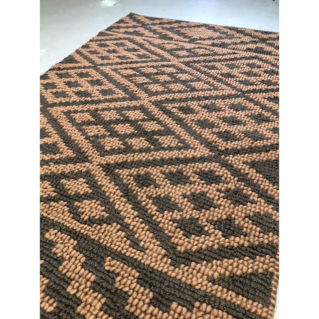 Textile Heavy Knit Brown and Tan Geometric Rug For Sale - Image 7 of 13