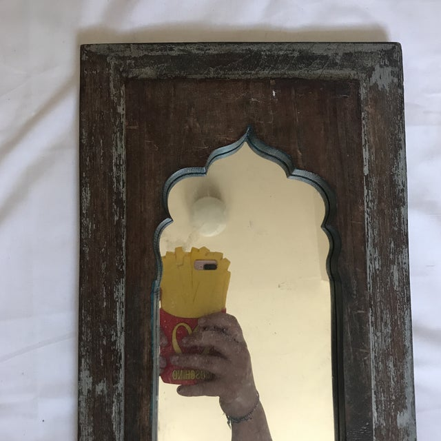 Vintage Indian Archway Painted Teak Mirror For Sale - Image 4 of 11