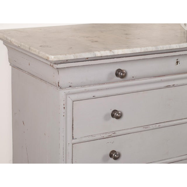 Antique French Painted Louis Philippe Chest of Drawers with a Marble Top circa 1850 For Sale - Image 4 of 11
