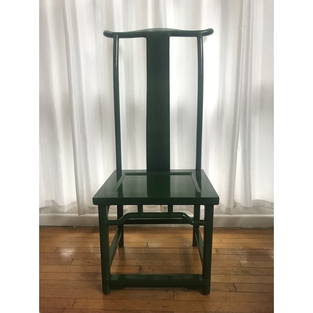 This is a fabulous set of two emerald green lacquered chairs in the Ming Dynasty style featuring tall yoke backs. This is...