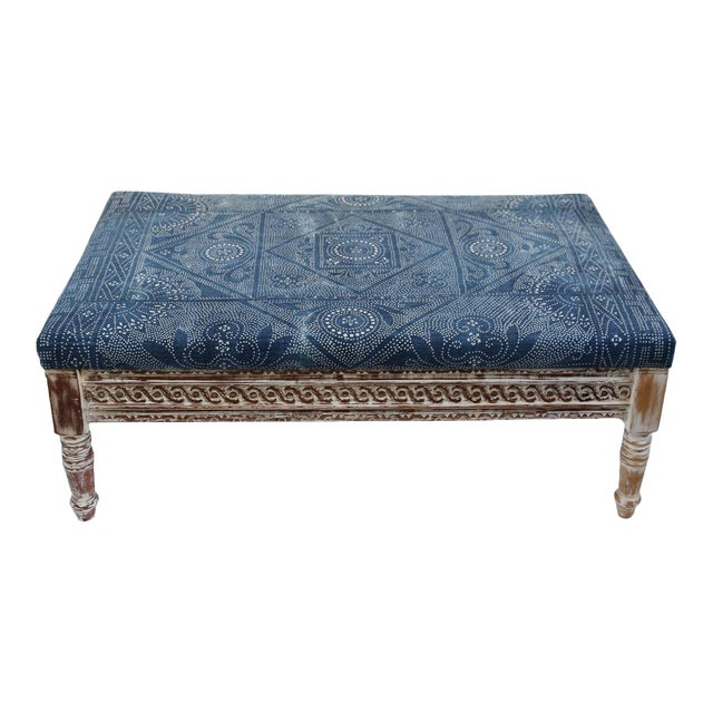 Indigo Dot Upholstered Ottoman - Image 1 of 4