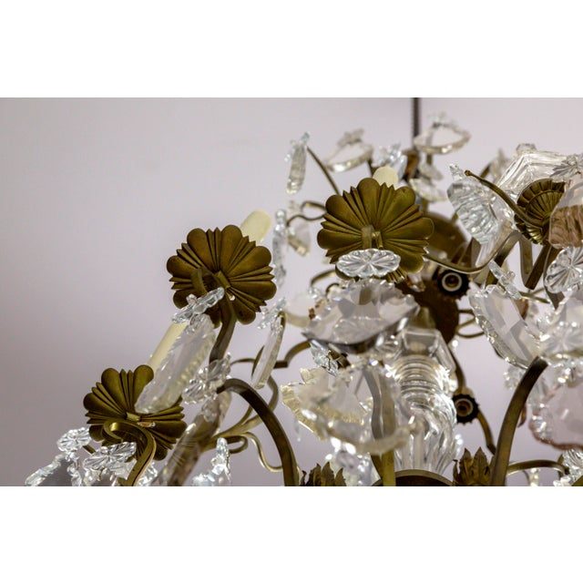 Gold Tall Bronze Belle Epoque 21-Light Chandelier W/ Smoke & Mauve Crystals For Sale - Image 8 of 13