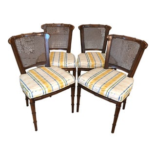 1970s Vintage Henredon Faux Bamboo Side Chairs- Set of 4 For Sale