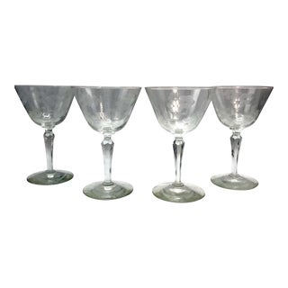 Early 20th C. Wheel Etched Seneca Glass Lead Crystal Stemware With Daisy Pattern - Set of 4