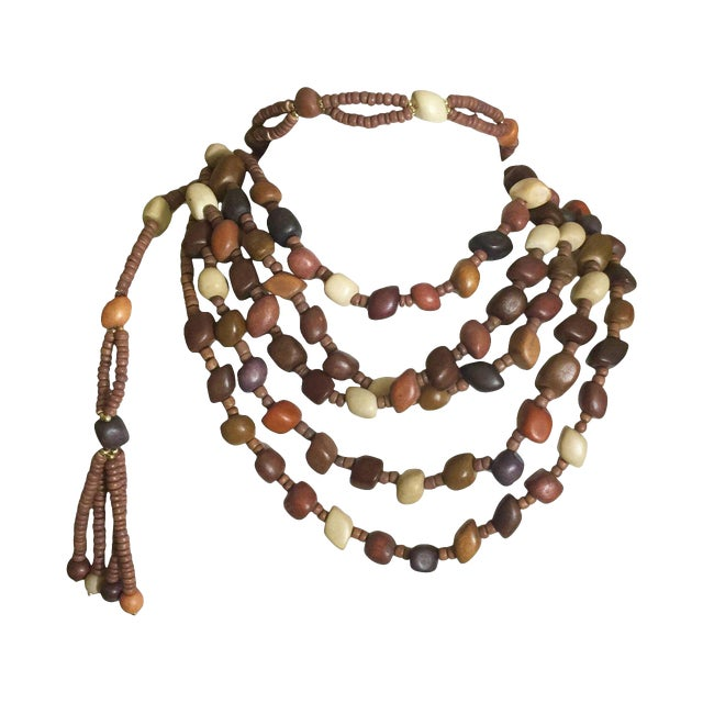 Vintage Wood Bead and Tassel Belt & Necklace For Sale