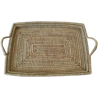 Vintage Woven Wicker Tray with Handles For Sale