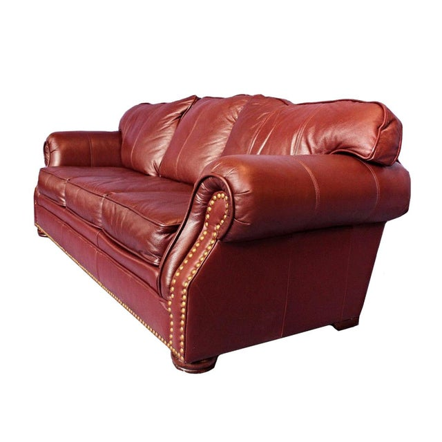 Best Genuine Leather Sectional Sofa: Transitional Brown Genuine Leather Nailhead Sofa