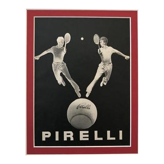 1940 Original Italian Poster, Pirelli Advertisement - Tennis Players
