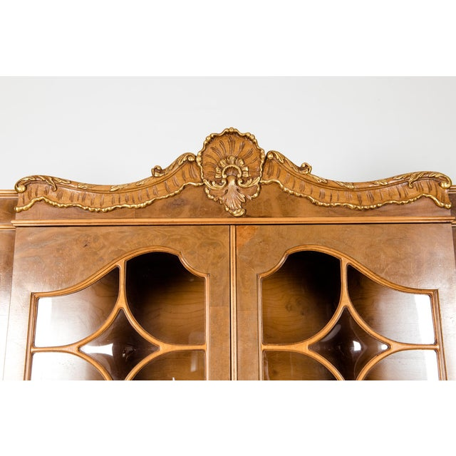 Chippendale 20th Century Two Parts Burlwood Hutch or China Cabinet For Sale - Image 3 of 13