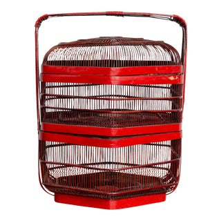 Vintage Chinese Red Lacquered Bird Cage with Handle and Hexagonal Base For Sale