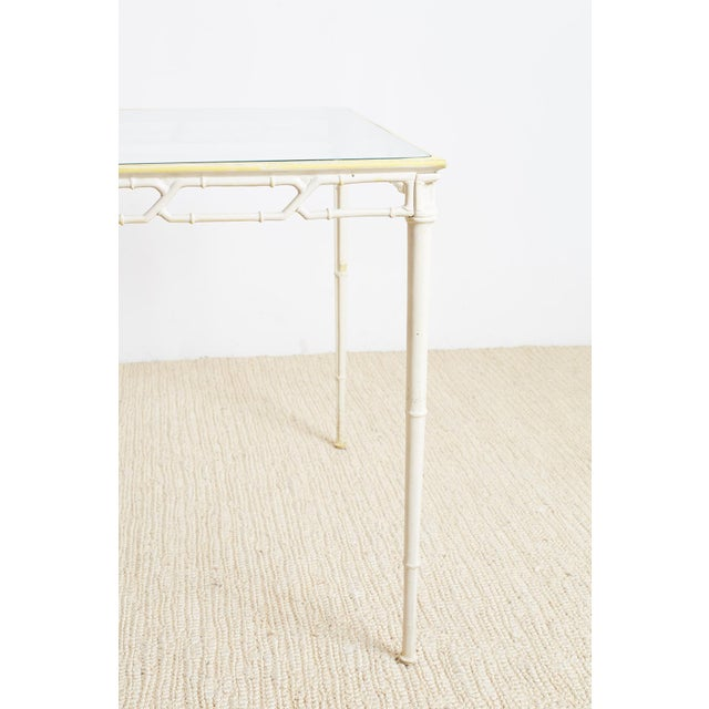 Brown Jordan Calcutta Faux Bamboo Garden Table For Sale - Image 9 of 13
