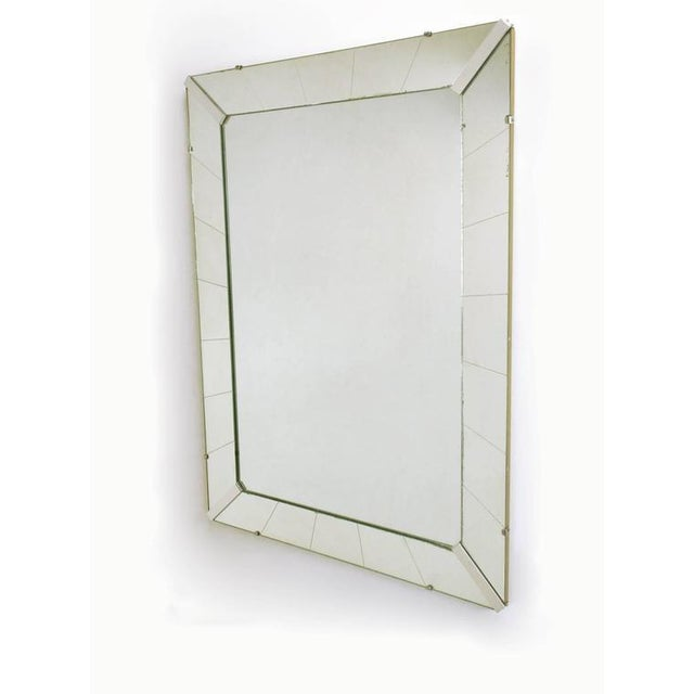 Tall Reverse Striated and Mirrored Frame Art Deco Mirror - Image 2 of 5
