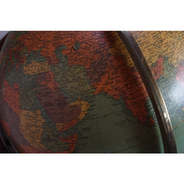 Turquoise 1960s Replogle Illuminated Glass Globe on Mahogany Stand For Sale - Image 8 of 13