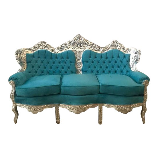 1940s Vintage Italian Baroque Rococo Style 3-Seater Sofa For Sale In Miami - Image 6 of 6