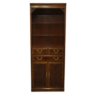 "Drexel Heritage Chippendale Collection Banded Mahogany 31"" Cabinet Bookcase For Sale"