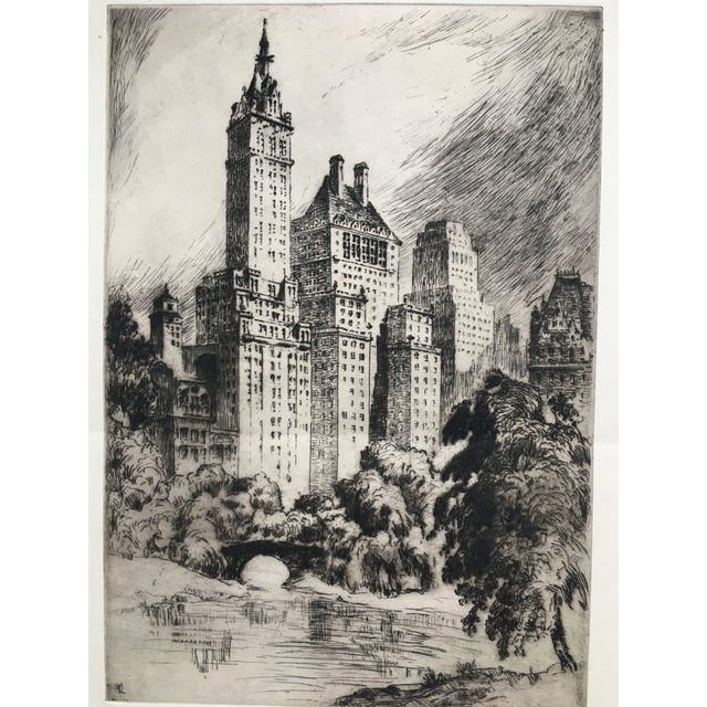 """Etching 1940's New York Etching """"Central Park"""" by Nat Lowell For Sale - Image 7 of 13"""