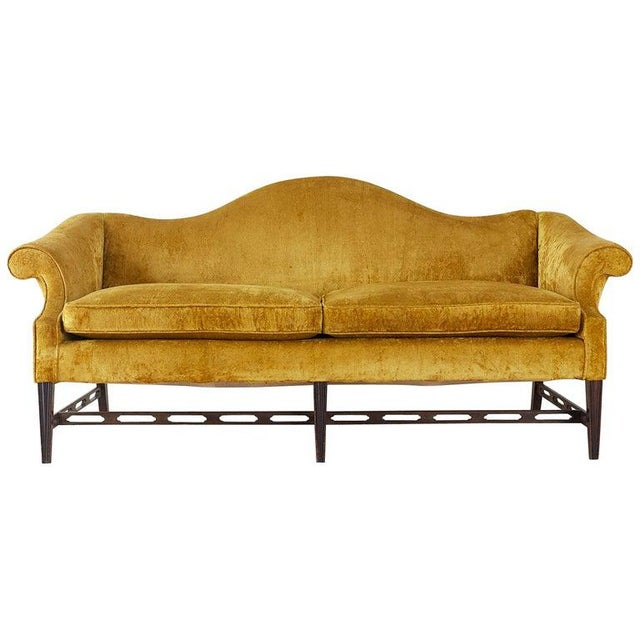 Chinese Chippendale Style Citron Velvet Camel Back Sofa For Sale - Image 13 of 13