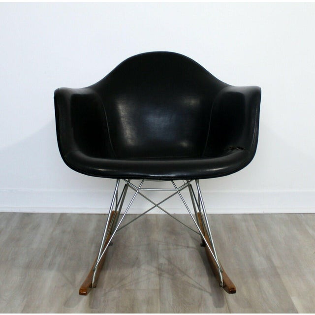 "For your consideration is an incredible, early, Charles Eames rocking armchair, with an ""Eiffel Tower"" base, circa the..."