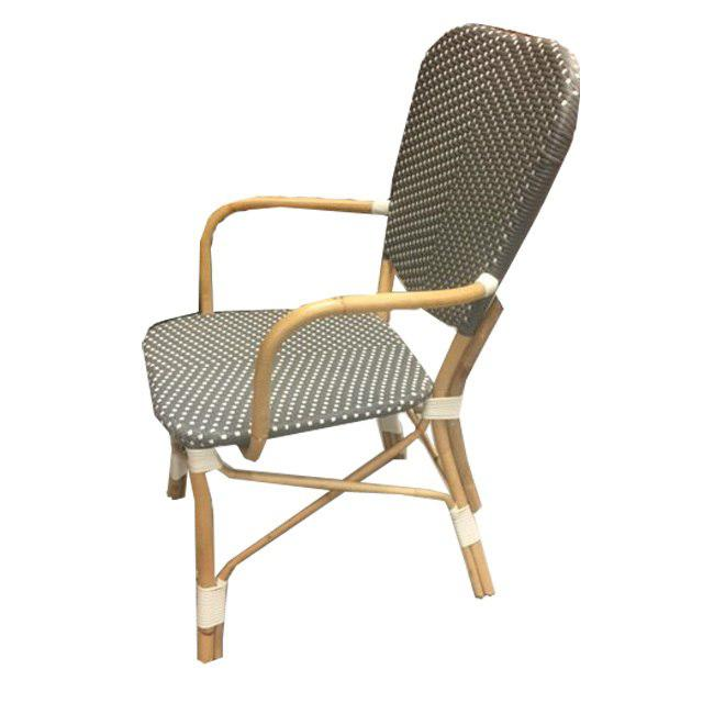 Boho Chic Boho Chic Piazza Rattan Bistro-Style Woven Armchair For Sale - Image 3 of 3