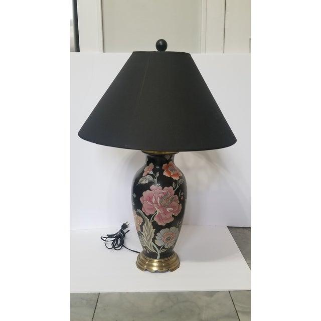 Vintage Asian Black and Pink Floral Porcelain Table Lamp For Sale - Image 13 of 13