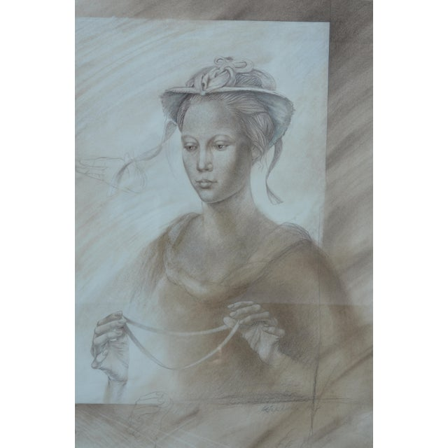 Pencil Set of Two Pencil and Charcoal Portraits For Sale - Image 7 of 11