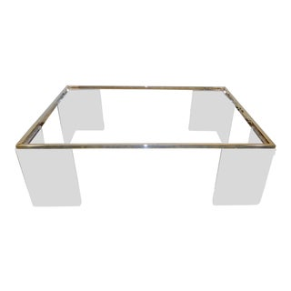 Contemporary Lion in Frost Lucite & Brass Coffee Table For Sale
