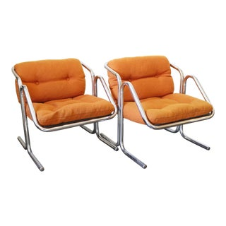 Pair Mid Century Modern Jerry Johnson Arcadia Lounge Chairs Orange Chrome For Sale