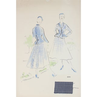 San Francisco Fashion Illustration by Gibson Bayh For Sale