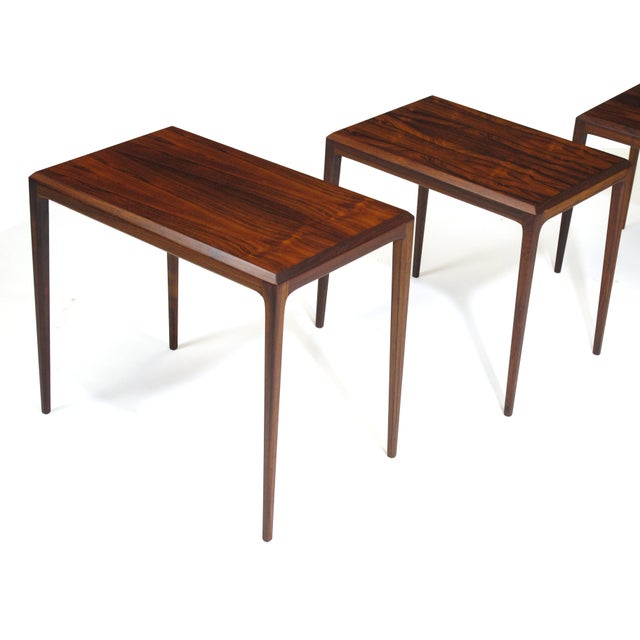 Brown Rosewood Johannes Andersen for Cf Christensen of Silkeborg Nesting Tables For Sale - Image 8 of 11