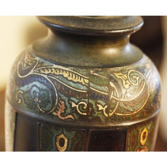 Vintage Cloisonne Lamps - Pair - Image 6 of 8