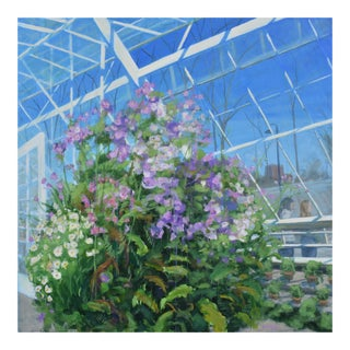 """Meet Me at the Greenhouse"". Large (48"" X 48"") Contemporary Painting by Stephen Remick For Sale"