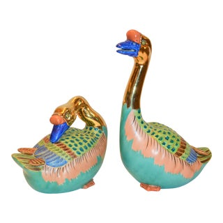 Vintage Japanese Porcelain Kutani Geese - a Pair For Sale