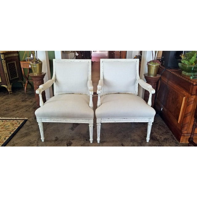 Mid 19th Century Louis XVI Style Pair of Painted Armchairs For Sale - Image 5 of 12