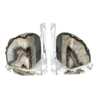 1980s Custom Geode Specimen Mounted Lucite Bookends - a Pair For Sale