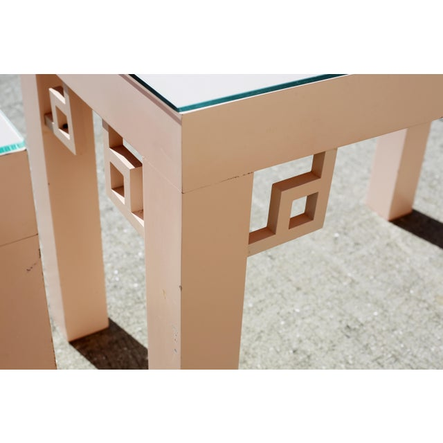 Wood Vintage Blush Laminate Side Tables With Corner Accents and Glass Tops - a Pair For Sale - Image 7 of 13
