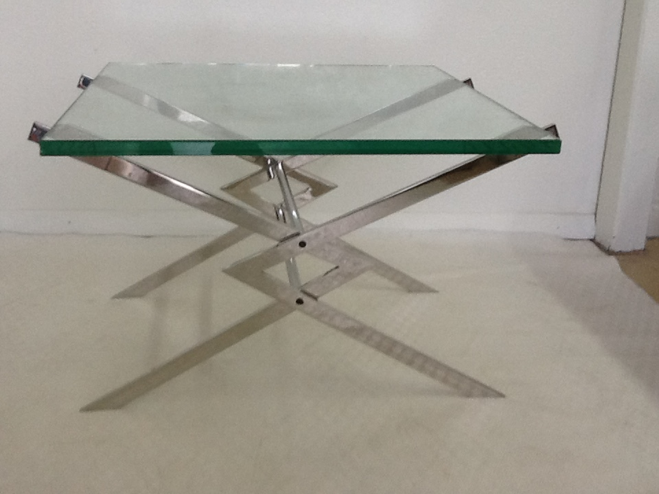 Mid Century Modern Mid Century Stainless Steel Side Tables   Pair For Sale    Image