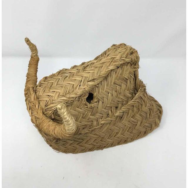 Textile Mid 20th Century Handmade Esparto Grass Wall Mount Bulls Head For Sale - Image 7 of 11