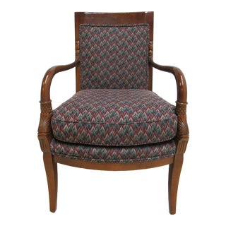 1980s Vintage Century Furniture Carved Koi Serpent Living Room Arm Chair For Sale