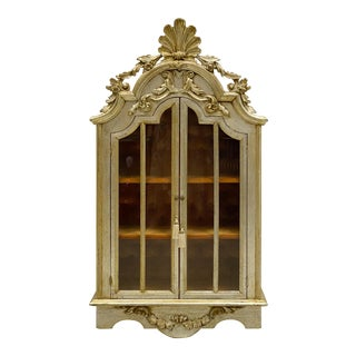 Italian Silver Leaf Wall Cabinet With Velvet Tufting For Sale