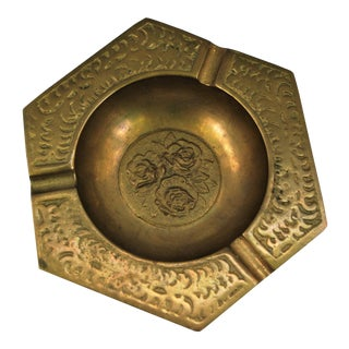 Vintage Brass Ashtray With Rose Design For Sale