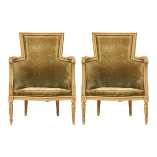 Louis XVI Style Bergere Chairs in Original Paint - a pair For Sale