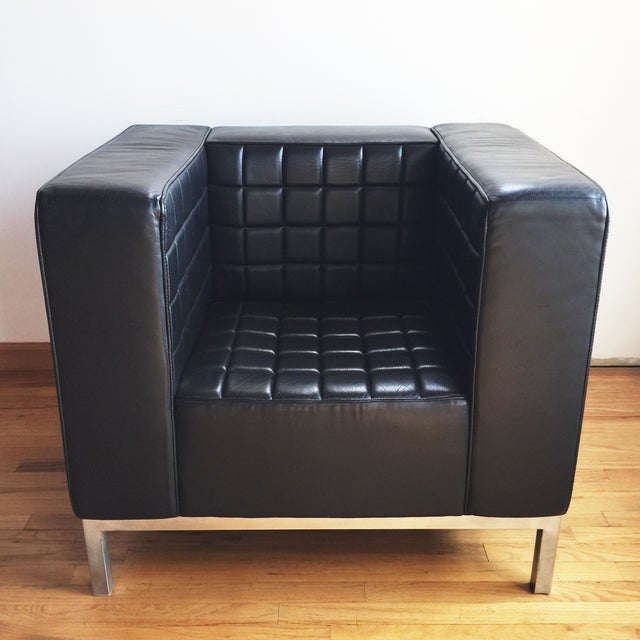 Custom Leather Tufted Club Chair - Image 2 of 8