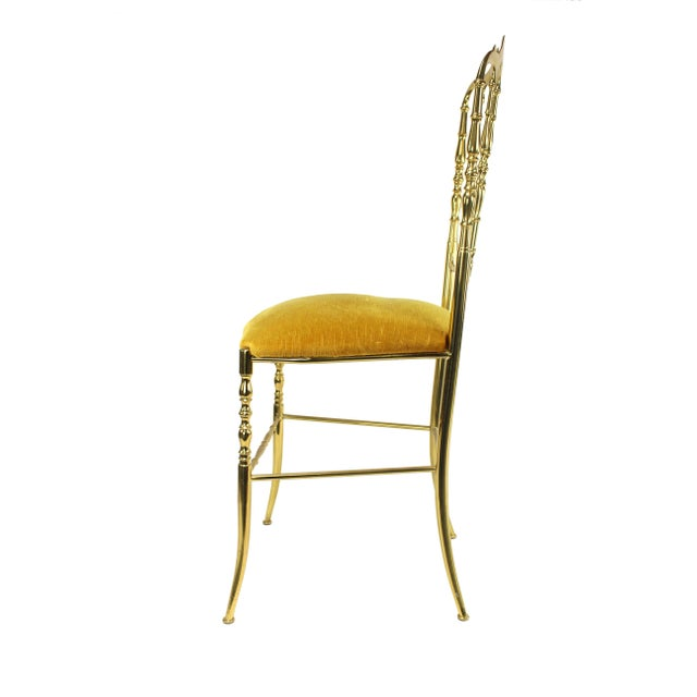 1950s 1950's Vintage Chiavari Italian Hollywood Regency Gold Gilded Brass Vanity Chair For Sale - Image 5 of 8